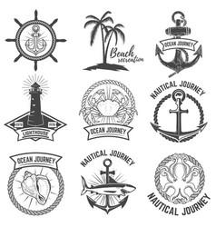 set of nautical emblems isolated on white vector image