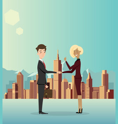 business men cooperate about business in the city vector image vector image