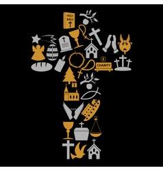 christianity religion symbols in big cross eps10 vector image vector image