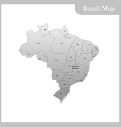 detailed map of the brazil vector image vector image