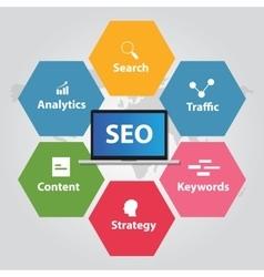 SEO search engine optimization analytics traffic vector image vector image