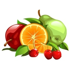Set of apple pear orange and cherries vector image vector image