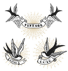 set of retro style tattoo with swallow bird vector image