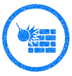 wall destruction rounded grainy icon vector image