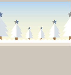christmas tree background snow vector image vector image
