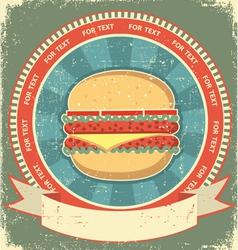 hamburger label vector image vector image
