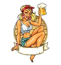 Pretty pin up girl holding beer mug vector