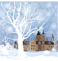 Winter landscape snow forest and castle building vector