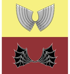 Demon and Angel Wings vector image