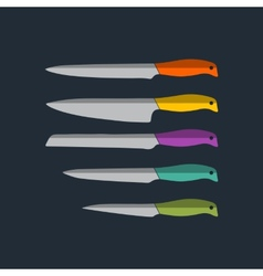 flat kitchen knife icons set vector image vector image