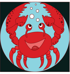 funny cartoon crab on the colorless background vector image vector image