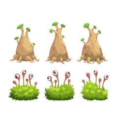 funny cartoon fantasy trees and bushes set vector image