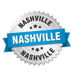 Nashville round silver badge with blue ribbon vector image vector image