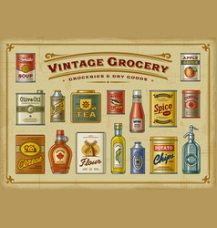 Vintage grocery set vector