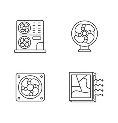 Air cooling linear icons set vector