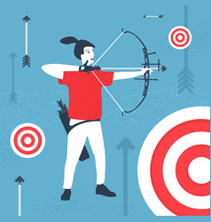 archer and target carton style vector image