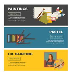 Artist paiting art creative banners oil vector