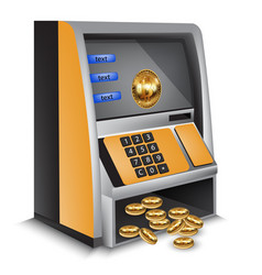 Atm bitcoins cash machine vector