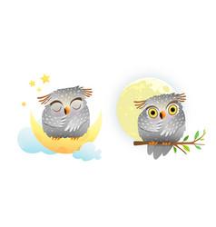baby animal owl sleeping and looking at moon vector image
