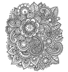 Beautiful monochrome floral pattern vector
