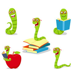 Bookworm cartoon collection set vector