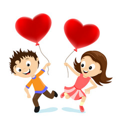 boy and girl with balloons in form hearts vector image
