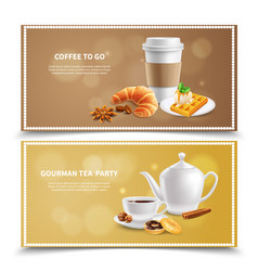 breakfast realistic banners vector image