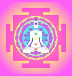 buddha over sri yantra or sri chakra form of vector image