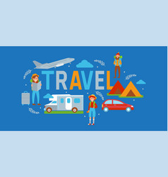 Camping travel banner vector