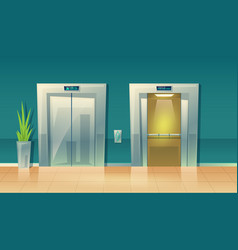 Cartoon empty hallway elevators - closed vector