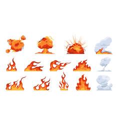 cartoon fire flame flat fireball smoke and vector image