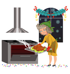 Cartoon old lady putting chicken in oven vector