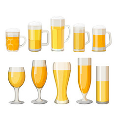 collection of beer mugs with light alcohol vector image