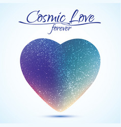 cosmic love concept heart with night sky vector image