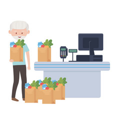 Counter with cash register and old man vector