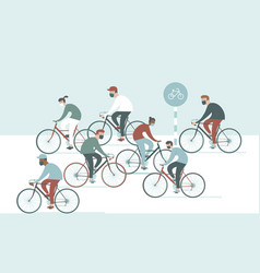 Crowd cyclist wearing masks vector