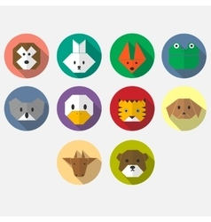 Cute origami animals flat long shadow icon set vector image
