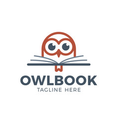 cute owl head with book education logo - emblem vector image