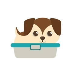 cute puppy little brown bathtub vector image