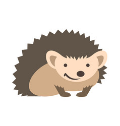 Cute smiling hedgehog kids cartoon vector
