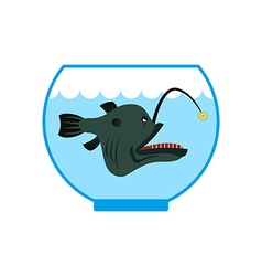 Deep sea fish in Aquarium Terrible anglerfish in vector