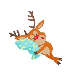 Deer Sleeping on Pillow Isolated Reindeer Sleeps vector