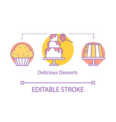delicious desserts concept icon pastry shop vector image