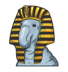 Elephant seal egyptian pharaoh sketch vector
