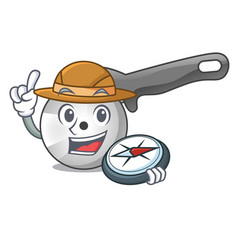 explorer pizza cutter cartoon in the kitchen vector image