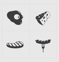 Fast food black icon set on white vector