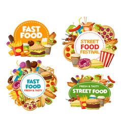 Fast food icons pizza hamburger soda fries vector