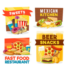 fast food restaurant snacks and bar vector image