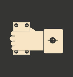 flat black and white money in hand vector image