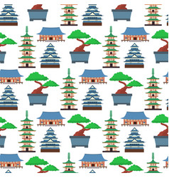 flat colored symbols japan travel vector image